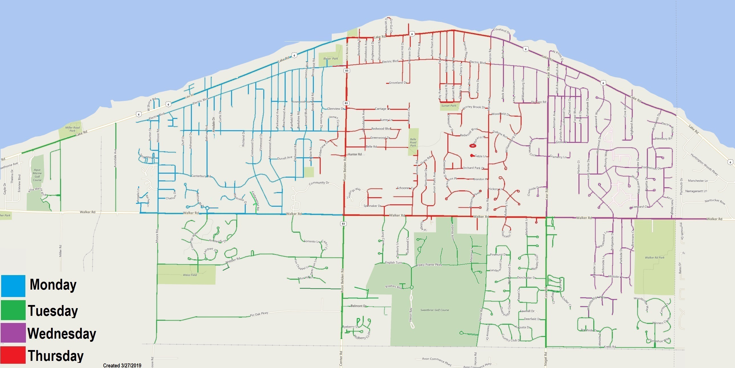 Avon Lake Trash Map
